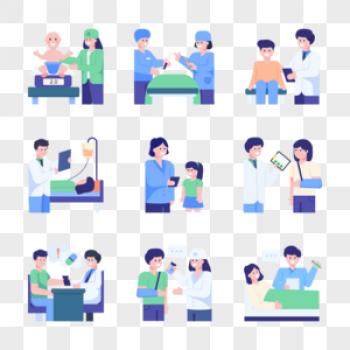 Download Doctor And Patients Flat Concept Icons