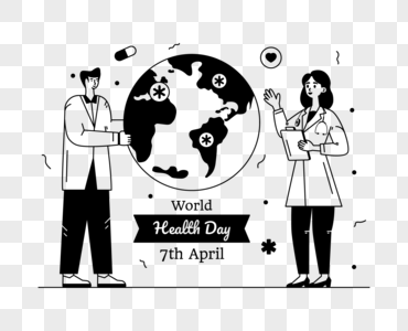 Download Doctor With Stethoscope, World Health Day Glyph Line Vector