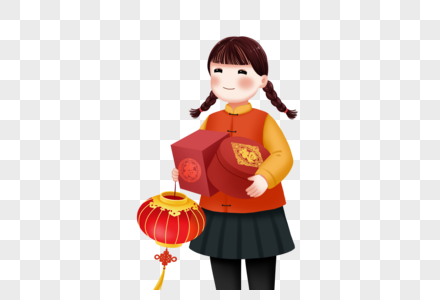 Download Girl Buying New Year Goods