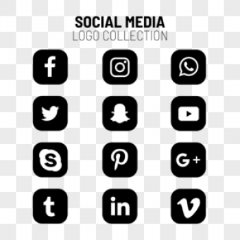 Download Social Media Black And White Icons Set